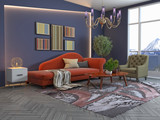 Interior of the living room. 3D illustration - 232741869