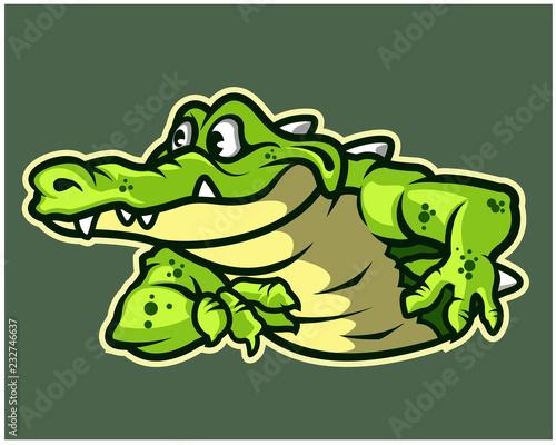 Funny Gator Cartoon Logo Mascot - 232746637