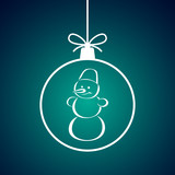 Christmas ball with snowman pattern. Vector illustration. - 232752426