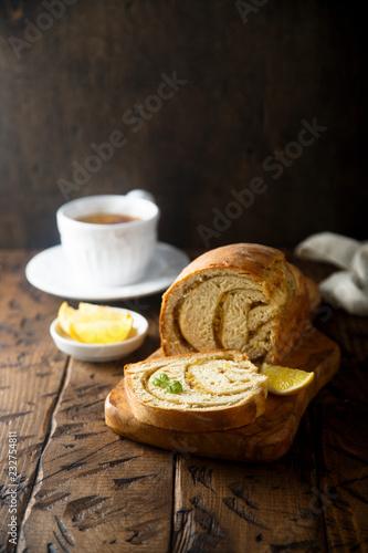Poster Homemade lemon cinnamon bread