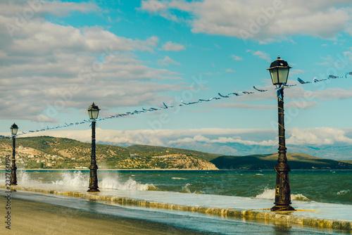 Promenade walking area on seaside in greek resort