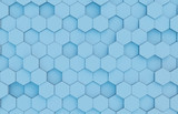 Blue hexagons background pattern 3D rendering