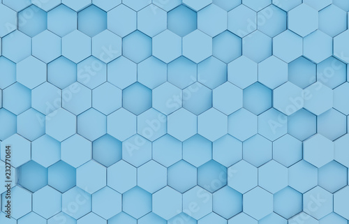Sześciokąty niebieskie tło wzór renderowania 3d
