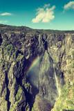 Voringsfossen waterfall with rainbow, Norway