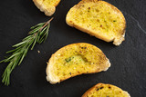 garlic bread with cream cheese and butter for breakfast   - 232772630