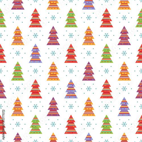 fototapeta na ścianę Seamless pattern with fir trees and snowflakes