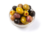 kalamata and conservolia olives in a white bowl isolated against a white