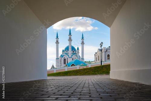 Kul Sharif mosque in the Kazan Kremlin. View through the arch.