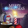 Christmas card with beautiful winter landscape, candle and snow globe