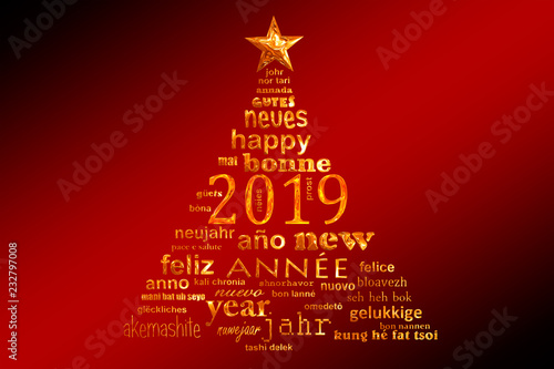 Leinwanddruck Bild 2019 new year multilingual text word cloud greeting card in the shape of a christmas tree