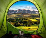 Stunning view from tent to Belianske Tatra mountains at sunset - 232798878