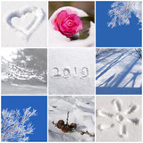 2019, snow and winter nature photos collage - 232800683