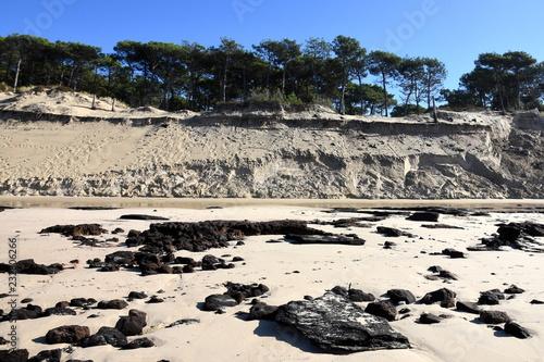 Foto Murales France, Gironde, côte Atlantique, érosion des plages et des dunes du littoral Aquitain.