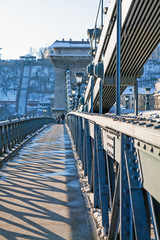 Lanchid or Chain bridge in Budapest at winter © vitfotography
