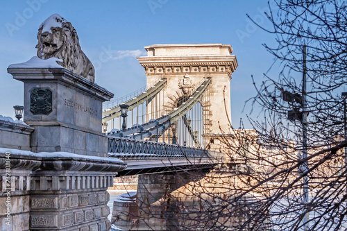 Lanchid or Chain bridge in Budapest at winter