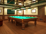 Billiard room in classical style with wooden decoration. - 232809023