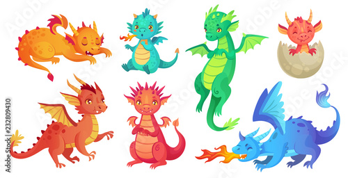fototapeta na ścianę Dragon kids. Fantasy baby dragons, funny fairytale reptile and medieval legends fire breathing serpent cartoon isolated vector set