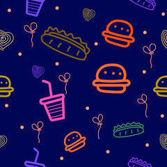 Abstract seamless pattern with fast food motifs, burgers, hot dogs, etc