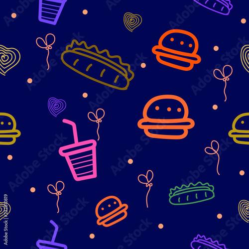 fototapeta na ścianę Abstract seamless pattern with fast food motifs, burgers, hot dogs, etc