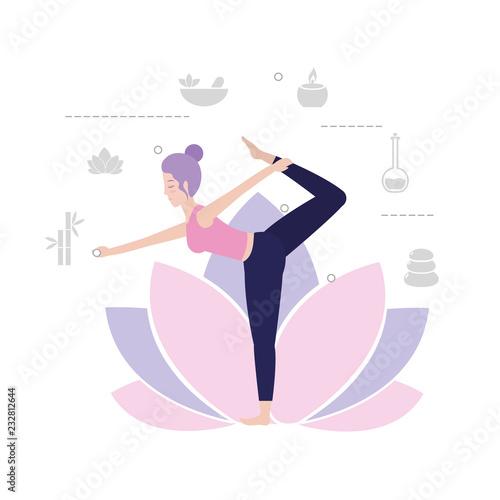 Poster woman practice yoga exercise balance