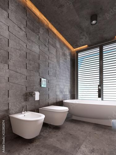 Leinwandbild Motiv Contemporary bathroom in dark tones with ceiling lighting.