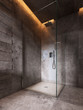 Glass shower room on a dark brown wall background.