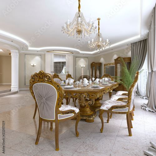 Modern Clic Dining Table In A Luxurious Baroque Living Room With Serving