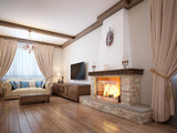 Living room in a rustic style with soft furniture and a large fireplace with classic elements. - 232821417
