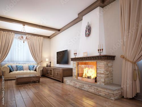 Salon w stylu rustykalnym z miękkimi meblami i dużym kominkiem z klasycznymi elementami.