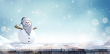 Grandpa Snowman with beard and glasses in winter landscape 3D Rendering - 232828431