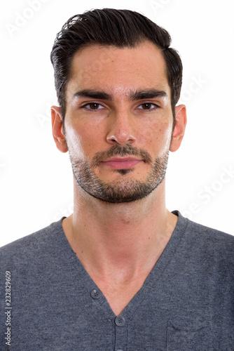 Studio strzał twarz młody przystojny mężczyzna