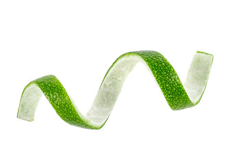 Lime twist isolated on a white background