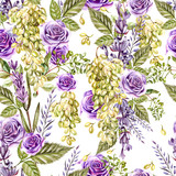 Beautiful watercolor pattern with grapes and flowers of lavender, rose.  - 232839211
