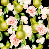 Beautiful watercolor pattern with pears and flowers of roses and peonies.  - 232839467