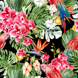 Beautiful watercolor tropical pattern with leaves, flowers,fruits and parrots.  - 232839618