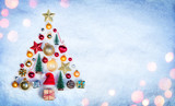 Christmas Element In Shape Tree On Snow   - 232839811
