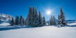 Leinwandbild Motiv Winterpanorama - Verschneite Winterlandschaft