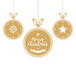Christmas wishes ornaments golden baubles hanging isolated background - 232842429