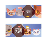 Funny cat faces banner vector ilustration. Cartoon cute kitten portraits. Animal heads. More love more cats. Pet thinking about fish food. Lovely animals flyer, poster. © Vectorvstocker