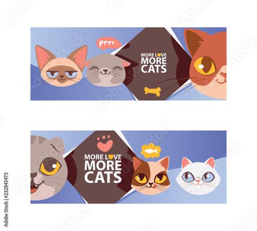 Funny Cat Faces Banner Vector Ilustration Cartoon Cute Kitten