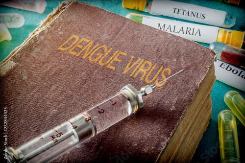 Syringe on an old book on dengue virus, conceptual image - 232844423