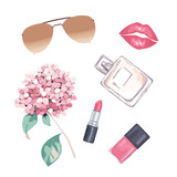 Fashion set for glamour women on white background. Perfume,  lipstick and flower. Vector illustration. Watercolor style - 232844845