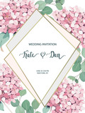 Gold polygonal frame with  hydrangea,. Golden glitter triangles, geometric shapes.Vector template for design, print, poster, card, invitation, party, birthday, wedding, save the date, business. - 232844875