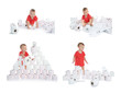 Leinwanddruck Bild - Set with cute little boy and toilet paper on white background