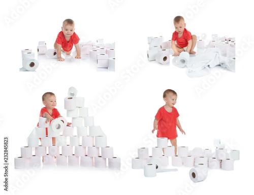 Leinwandbild Motiv Set with cute little boy and toilet paper on white background