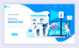 Modern flat design concept of Digital Marketing with decorated small people character for website and mobile website development. UI and UX design. Landing page template. Vector illustration. - 232850432