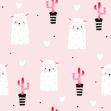Seamless pattern with cute llama and pink cacti. Vector hand drawn illustration. - 232852624