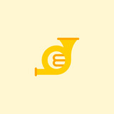 French horn icon flat element. Vector illustration of french horn icon flat isolated on clean background for your web mobile app logo design. - 232861677