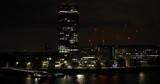 Establishing Shot Aerial View of London Skyline Residential Buildings Night Cars - 232862815