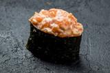 Sushi gunkan with spicy salmon - 232863438